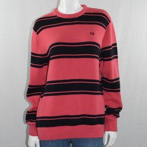 Chaps Pink & Black Crew Neck Pullover Knit Sweater